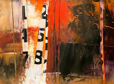 "Cold Wax, Mixed Media Abstract Painting, Contemporary Art ""Numbers 1"" by Carol Nelson"
