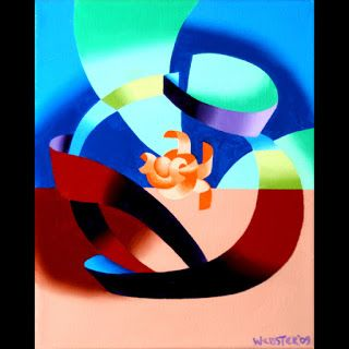 Mark Webster - Futurist Abstract Goldfish Bowl Oil Painting