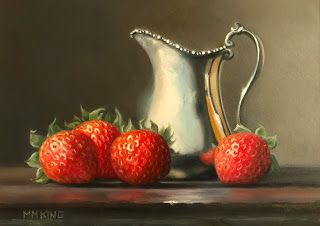 Strawberries with Silver Creamer