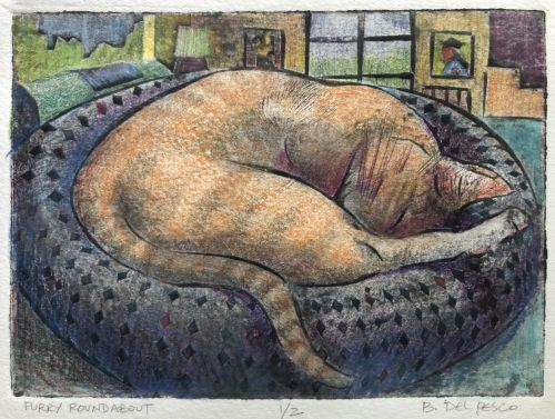Small Mat Board Collagraph Print of a Cat Sleeping