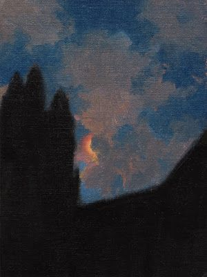 Nocturne, Red Moon with Clouds