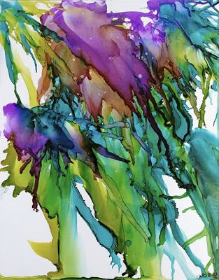"Sea Life, Under the Sea, Contemporary Art, Abstract ""Jelly Fish Rising"" by Cynthia Berg"