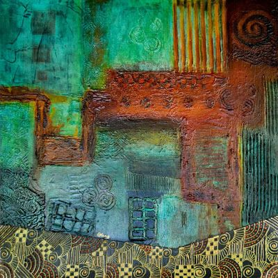 "Original Contemporary Painting, Abstract, Patina, Mixed Media Art ""Abstract 1-Pipe Dream"" Painting by Contemporary Arizona Artist Pat Stacy"
