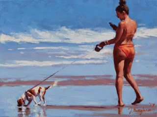 """""""Searching"""" - Series Painting of Dogs & Owners on the Beach"""