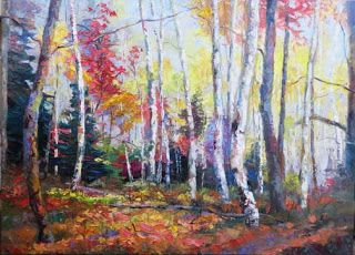 """Autumn Serenade II"" Palette Knife Aspen Tree Painting by Niki Gulley"