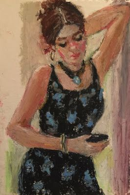Woman with a Cell Phone - oil pastel figurative