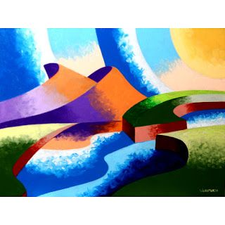 Mark Webster - Ice Cream Sunset - Abstract Geometric Landscape Oil Painting