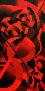 Mark Webster - Red Cellist - Abstract Geometric Futurist Figurative Oil Painting