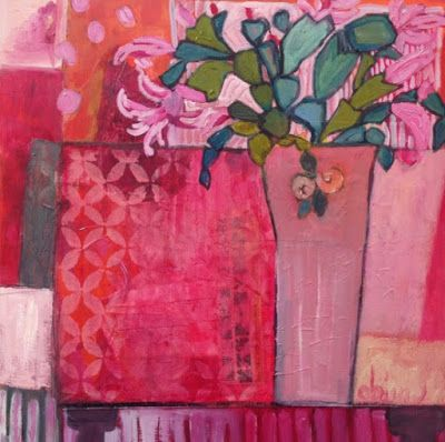 """Contemporary Expressionist Still Life Art Painting """"Gypsy Table"""" by Santa Fe Artist Annie O'Brien Gonzales"""