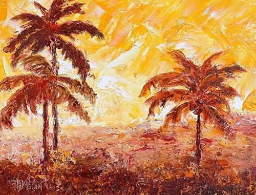 "Coastal Landscape Painting,Palm Trees ""Too Hot To Handle"" by Florida Impressionism Artist Annie St Martin"