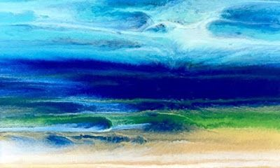 "Seascapes, Seascape Painting, Impressionist Seascape, Ocean Waves, Fine Art For Sale , Coastal Living Art Painting, Abstract Beach Art, ""Caribbean Dreams"" by International Contemporary Artist Kimberly Conrad"