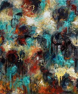 "Abstract Art Colorful Painting Texture Paintings Layers Turquoise Gold Black ""Passages"" by Debra Hurd"