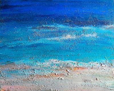 "Abstract Seascape Painting ""Birds Frolicking"" by California Artist Cecelia Catherine Rappaport"