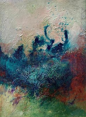 """Mixed Media,Textured Art, Expressionism,Contemporary Art, Fine Art For Sale """"SUBMERGED IN A DREAM"""" by Contemporary Artist Liz Thoresen"""