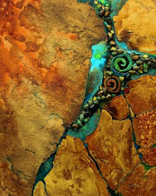 "Mixed Media Geologic Abstract Painting, ""Artifacts"" © Carol Nelson Fine Art"
