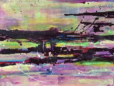 """Mixed Media Abstract Painting """"Purple Splash"""" by California Artist Cecelia Catherine Rappaport"""