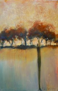 "Abstract Landscape Painting,Trees Gold Leaf ""Standing With Family"" by Intuitive Artist Joan Fullerton"