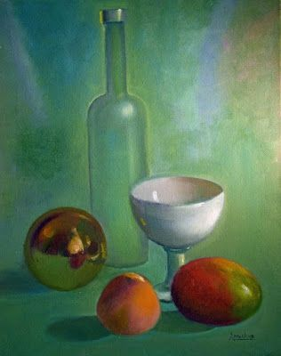 "Still Life Oil Painting,Peach, Wine Bottle, ""Life is Just Peachy"" by International Abstract Expression Artist Arrachme"