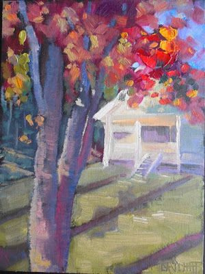 Fall Landscape Painting, Small Oil Painting, Daily Painting, 6x8