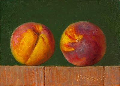 Peaches original oil painting