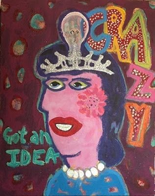 "Abstract , Folk Art, Narrative Art Painting, Portrait ""Queen Of Ideas, Tribute to Chris Roberts Antieau"" Narrative Art by Santa Fe Artist Judi Goolsby"