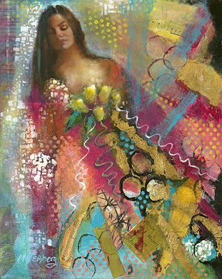 "Female Portrait Painting, Figurative Art ""Wild Bride Abstract 5"" by Illinois Artist Marilyn Weisberg"