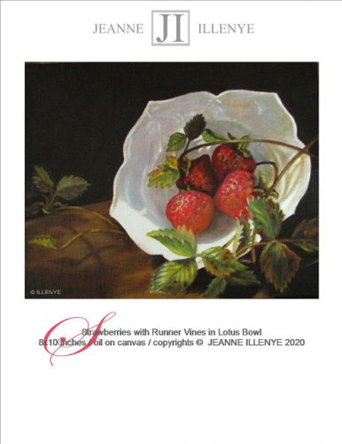 Still life oil painting strawberries in white lotus bowl with runner vines