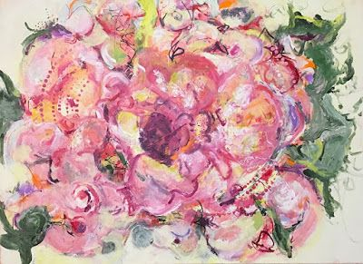 "Contemporary Floral Abstract Fine Art Painting, ""MIXED BOUQUET"" by Contemporary Expressionist Pamela Fowler Lordi"