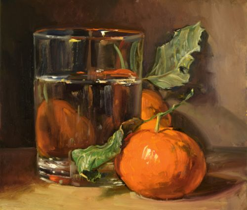 Mandarins and Glass of Water