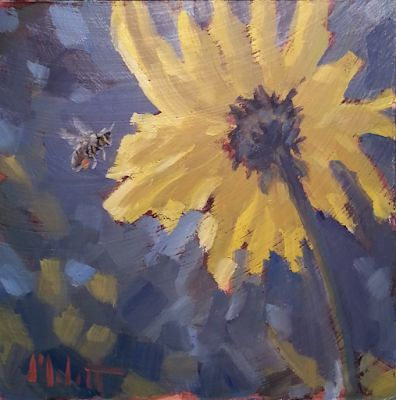 Magnetic Personality Bumble Bee Sunflowers Impressionism Oil Painting