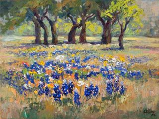 "Just Sold - ""April's Palette"" Texas Bluebonnet Oil Painting by Niki Gulley"