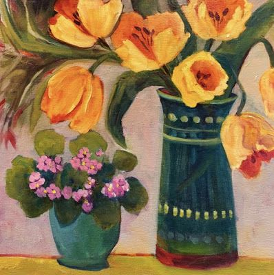 "Contemporary Still Life Art Painting ""First Tulips"" by Santa Fe Bold Expressive Artist Annie O'Brien Gonzales"