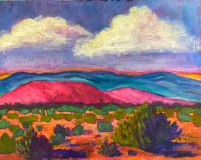 "Contemporary Expressionist Landscape Art Painting ""Ghost Ranch Foothills"" by Santa Fe Artist Annie O'Brien Gonzales"