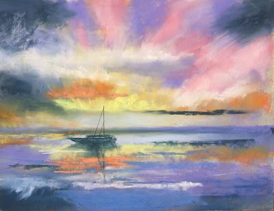 "Contemporary Sunset Landscape, ""Fernandina Sunset,"" by Amy Whitehouse"