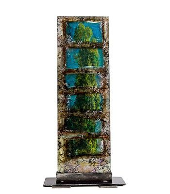 "Mixed Media Vertical Free Standing Sculpture, Abstract Art ""Trees of Oz"" by Santa Fe Contemporary Artist Sandra Duran Wilson"