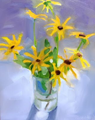 Black-eyed Susans in Clear Glass Vase