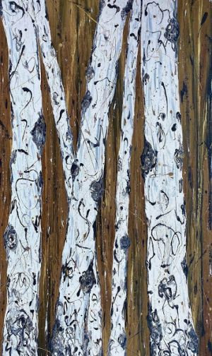 "Aspen Tree Painting, Aspens, Abstract Aspen ""STANDING STRONG IV"" by Colorado Contemporary Landscape Artist Kimberly Conrad"