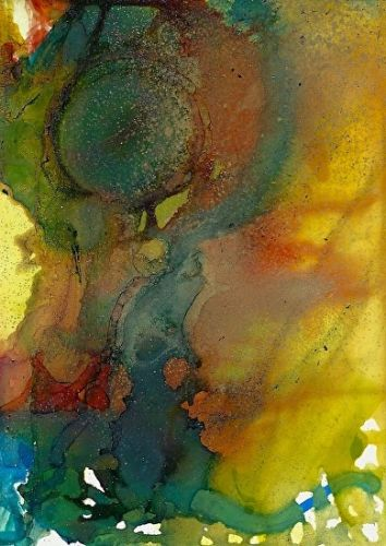 """Contemporary Alcohol Ink Painting """"Orb IV"""" by Contemporary New Orleans Artist Lou Jordan"""