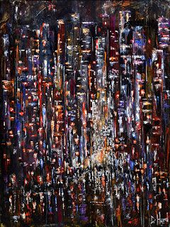 "Abstract New York City Cityscape Street Scene Painting Art ""Night at the Apple"" by Debra Hurd"