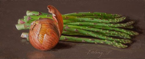 Asparagus onion daily painting original still life