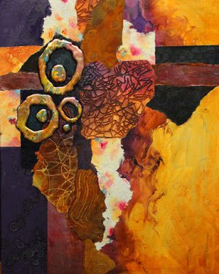 "Abstract mixed media collage painting, ""Slow Tango"" © Carol Nelson Fine Art"