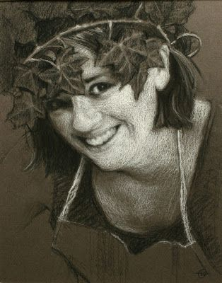 More Charcoal and White Chalk Portrait Drawings