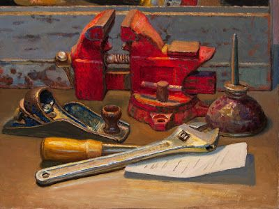 Still life with vise and a wrench old tools oil painting original contemporary realism