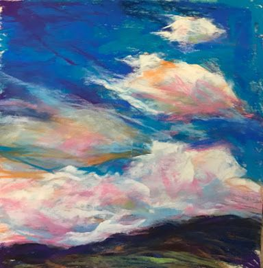 "STACKED + FLOWING - 4 1/2"" x 4 1/2"" pastel landscape by Susan Roden"