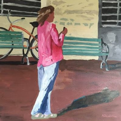 "Female Figurative Art Painting,Urban Cityscape ""On Vacation"" by Oklahoma Artist Nancy Junkin"