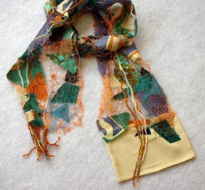 "Scarf, Wearable Art Artful Apparel, ""SHARDS PROMINENCE SCARF-SYMPHONY ON THE GREEN"" by Colorado Artist and Designer Gerri Calpin"