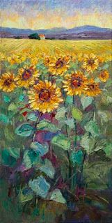 New Palette Knife Sunflower Painting by Contemporary Impressionist Niki Gulley