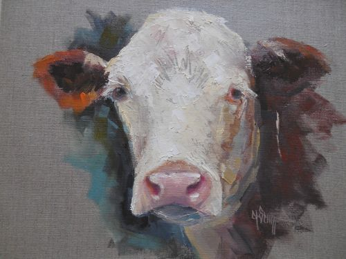Farmhouse Wall Decor, Cow Portrait Painting on Linen, Daily Painting