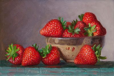 Strawberries original oil painting fruit daily painting a painting a day still life realism small work of art