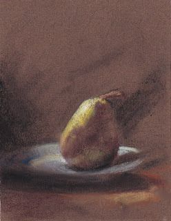 Pear on a plate pastel painting